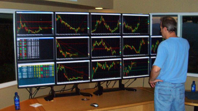 Multi monitor stock trading system