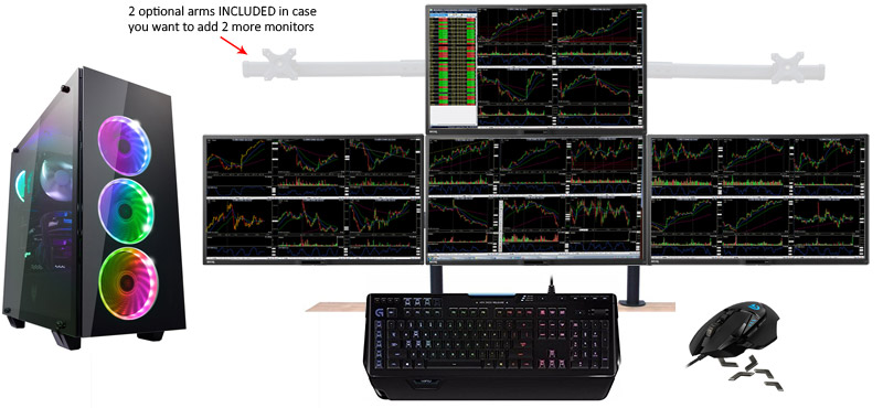 cheap 4 monitor stock trading computer