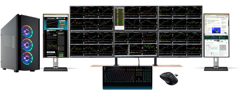 8 monitor high-end stock trading computer