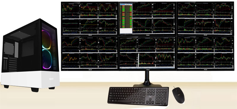 cheap 6 monitor stock trading computer