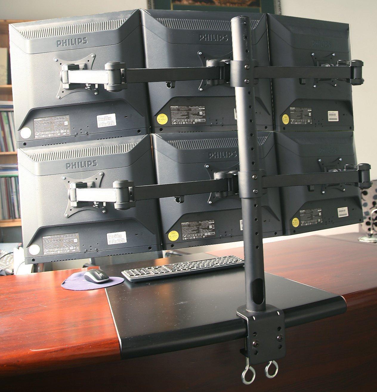 6 Monitor Stand Heavy Duty Desk Mounted Up To 6x 24 Monitors 85 99 Maximum Size Of Vesa