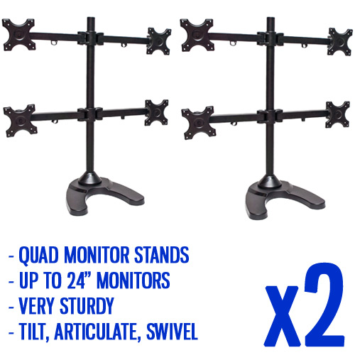 Quad Freestanding Monitor Stand for Widescreen Monitors Up to 24-Inch